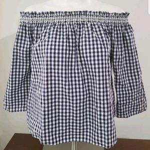 Madewell blue white gingham top sz small